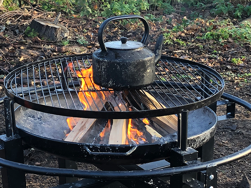 Kettle on open fire
