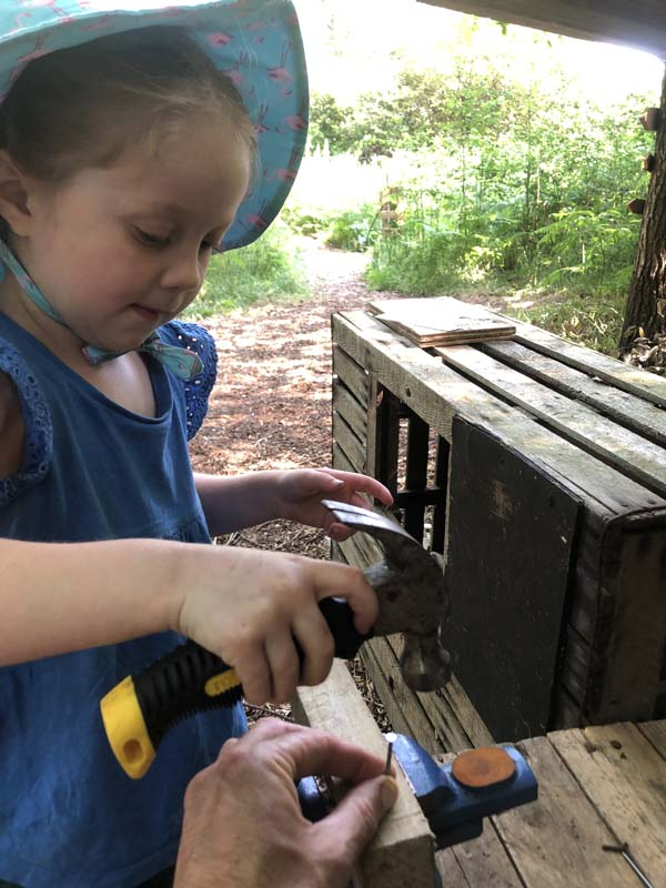 Outdoor Pre-School - Using a hammer