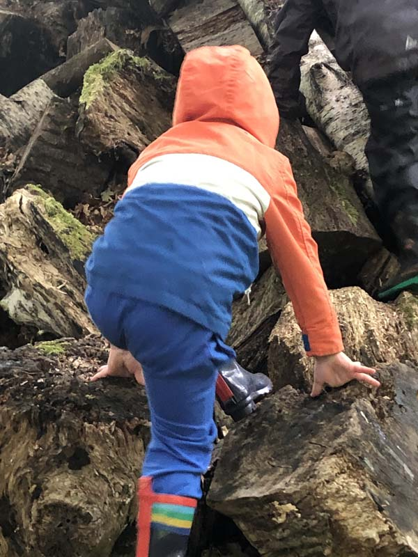 Boy climbing on logs