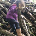 Girl climbing on logs