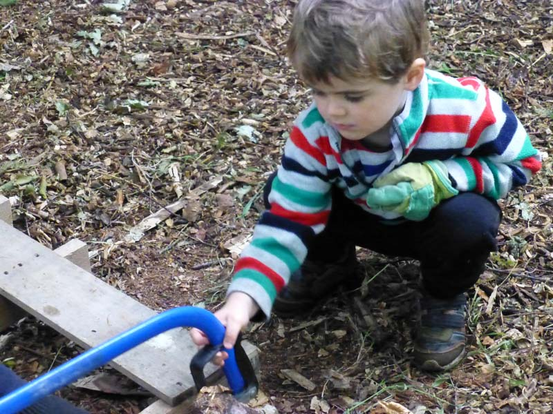 Outdoor Pre-School - Sawing